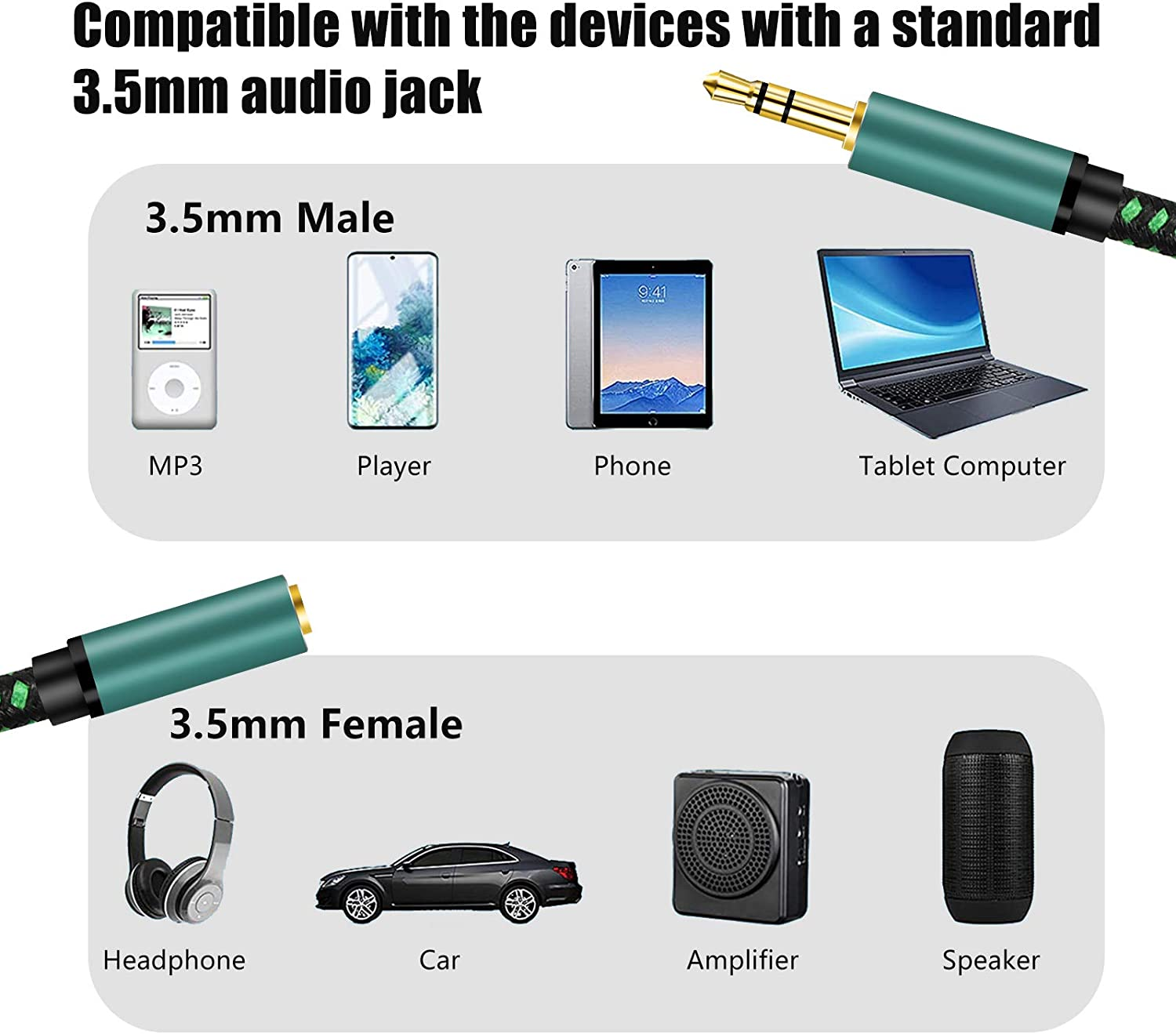 Headphones MP3 Players and More// Audio Extension Cable 3Ft,Audio Auxiliary Stereo Extension Audio Cable 3.5mm Stereo Jack Male to Female Stereo Jack Cord for Phones PCs Tablets