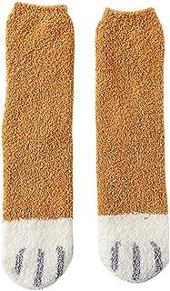 SilenceID, Dulce gato huellas Klaue Fuzzy calcetines para mujeres niñas calientes, mullidos, calcetines Coral Fleece Furry Indoor Floor Slipper Calcetines, color amarillo