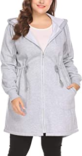 IN'VOLAND Women's Plus Size Hoodies Sweatshirt, Zip up Fleece Jacket Coat Outerwear with Pockets