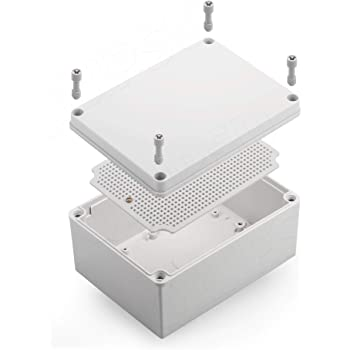 """QILIPSU Junction Box With Mounting Plate 200x150x100mm, ABS Plastic DIY Electrical Project Case IP67 Waterproof Dustproof Enclosure Grey (7.9""""x5.9""""x3.9"""")"""