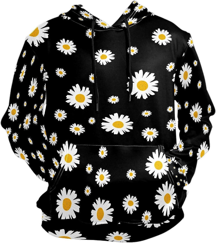 Men's Sport Hoodie White Little Daisy Flower Big and Tall Hoodies for Men Women Oversized Hooded Sweatshirt Hip Hop Pullover Hoodie Midweight Hood for Boys Girls