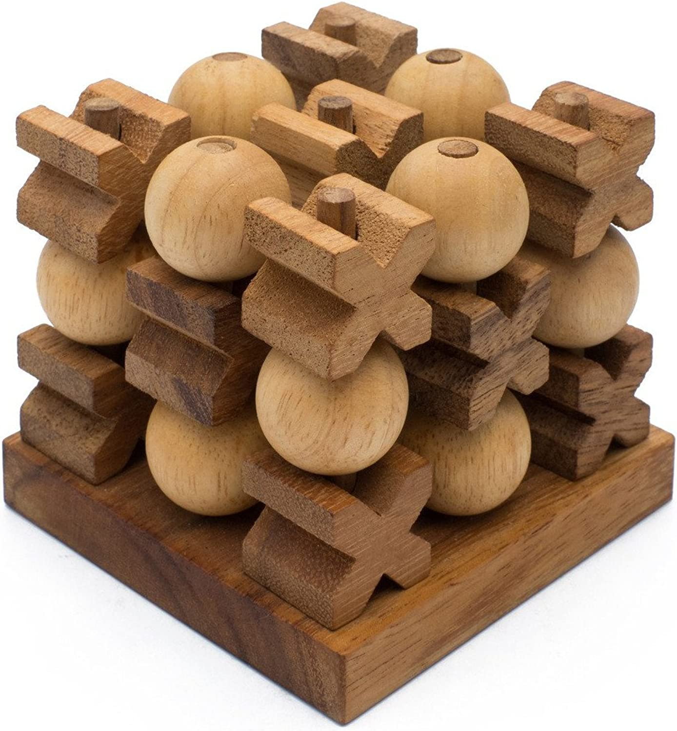 Siam Mandalay Wooden 3D Tic Tac Toe XOXO  Handmade & Organic Traditional Wood Game for Adults from SiamMandalay with SM Gift Box(Pictured)