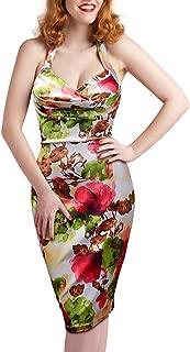 Women's Floral Print Halter 1950s Rockabilly Retro Party Dress
