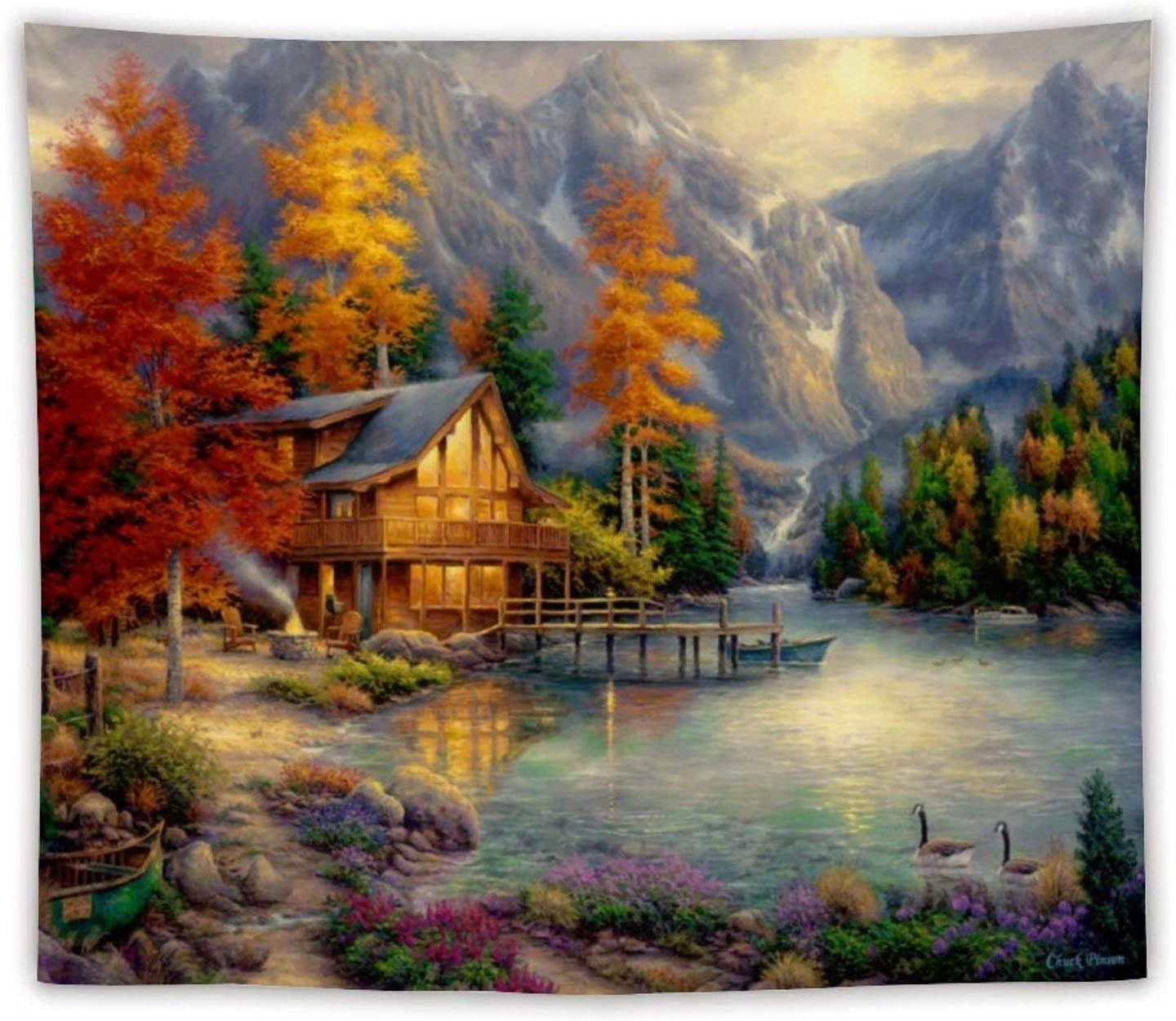 Tapestry Wall Hanging - Living Room Wall Decor for Women Girls, Multiple Styles for Choose - Autumn Lake Mountains Cottage Cabin