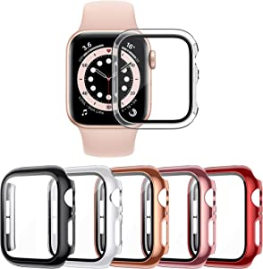 VASG 5-Pack Tempered Glass Screen Protector Case Compatible with Apple Watch Series 6 / SE / Series 5 / Series 4 44mm, Touch-Sensitive Ultra-Thin Hard PC Full Cover Bumper Compatible with iWatch 44mm