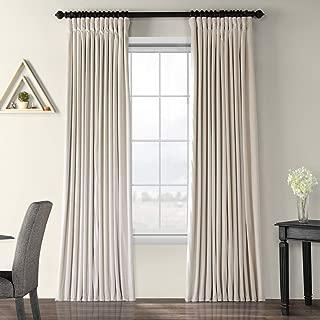 Half Price Drapes VPCH-VET1217-120 Signature Doublewide Blackout Velvet Curtain, Ivory, 100 X 120