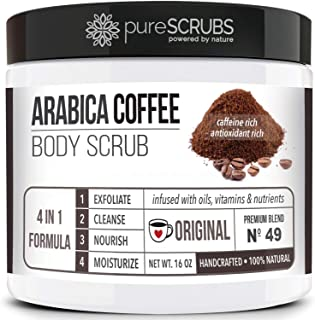 pureSCRUBS Premium Organic Arabica Coffee Body Scrub Set - ORIGINAL BLEND Lg 16oz Anti Cellulite Scrub With Essential Oils...