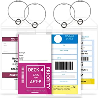 GreatShield Cruise Luggage Tag Holder (4 Pack) with Zip Seal & Steel Loops, Weather Resistance PVC Pouch (Transparent)