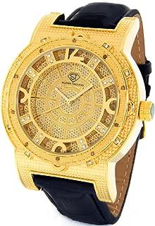 Diamond Watch Mens Genuine Diamond Watch Oversized Gold Case Leather Band w/ 2 Interchangeable Watch Bands #M-6154