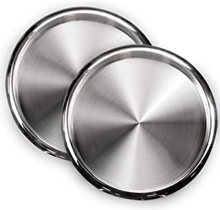 DecorRack 2 Serving Trays Stainless Steel 12 Inch Round Bar Tray Silver Platters for Serving Cocktails and Beverages at Pa...