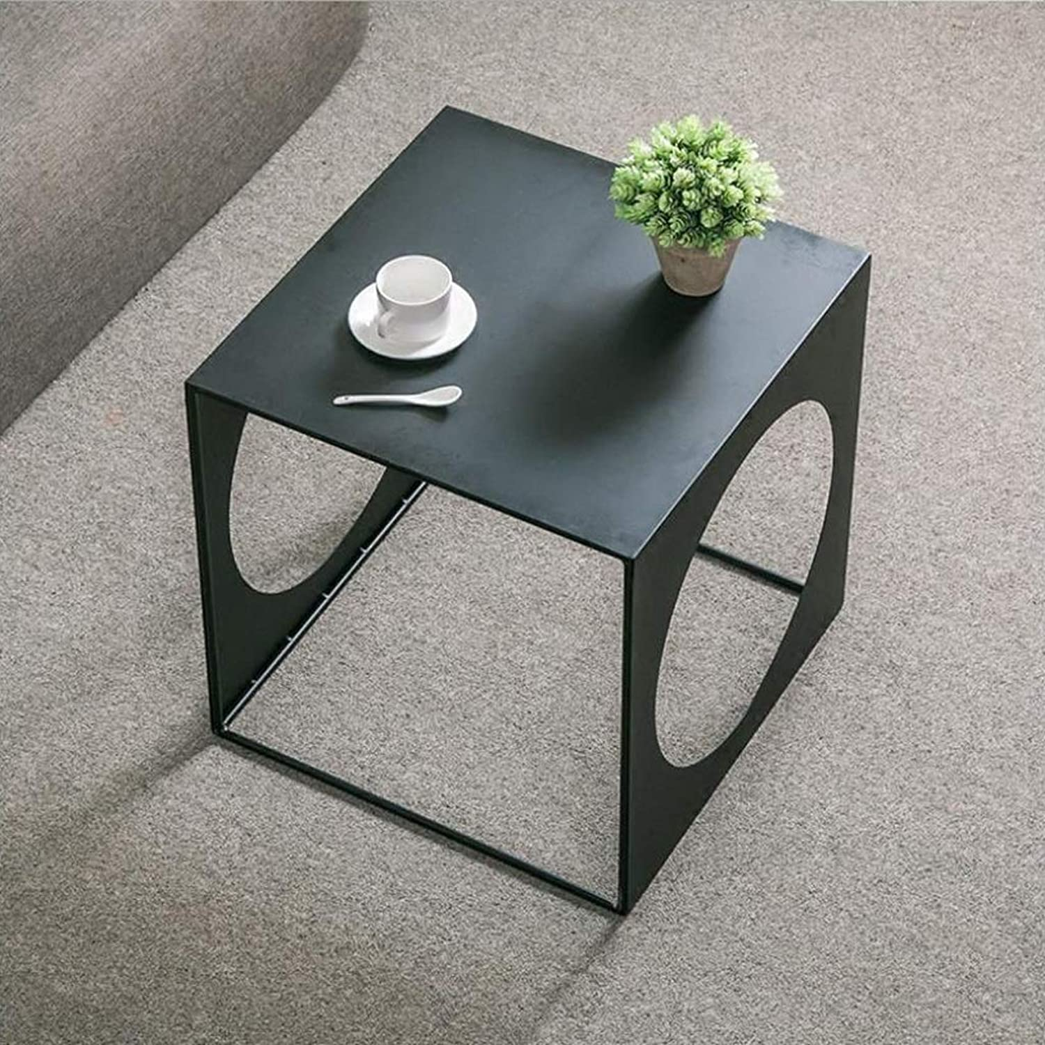 End Table, Iron Square Hollow Coffee Table, Metal Frame, Living Room Sofa Cafe Multifunctional Side Table (Size   50CM)