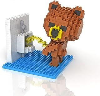 Sanzo Super Cute Brown Bear - Toilet - NanoBlocks Micro Diamond DIY Educational Toys