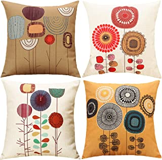 Best TongXi Cartoon Flowers Pattern Soft Cushion Covers Decorative Throw Pillows Case for Sofa 18x18 inches Pack of 4 Review