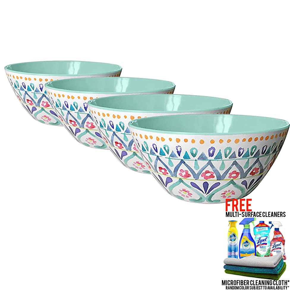 Multi-Medallion Outdoor Melamine Cereal Bowl, Set of 4 Bundled with Free Microfiber Cleaning Cloth and Multi Surface Cleaner