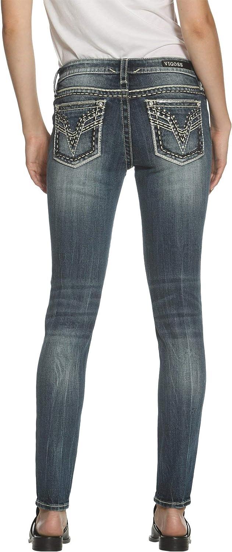 VIGOSS Women's EmbellishedPocket Skinny Jeans