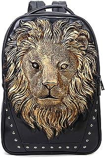 Backpack - PU Leather Men and Women Shoulder Bag/Computer Casual Anti-Theft Intelligent Rivet Zipper Backpack/Wide 31* Bag Height 46cm * Thick 12cm Backpack (Color : Gold)