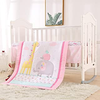 VIVILINEN Baby Crib Bedding Set for Girls 3 Pieces Pink Giraffe Elephant Originals Soft Toddler Nursery Bedding Sets with ...