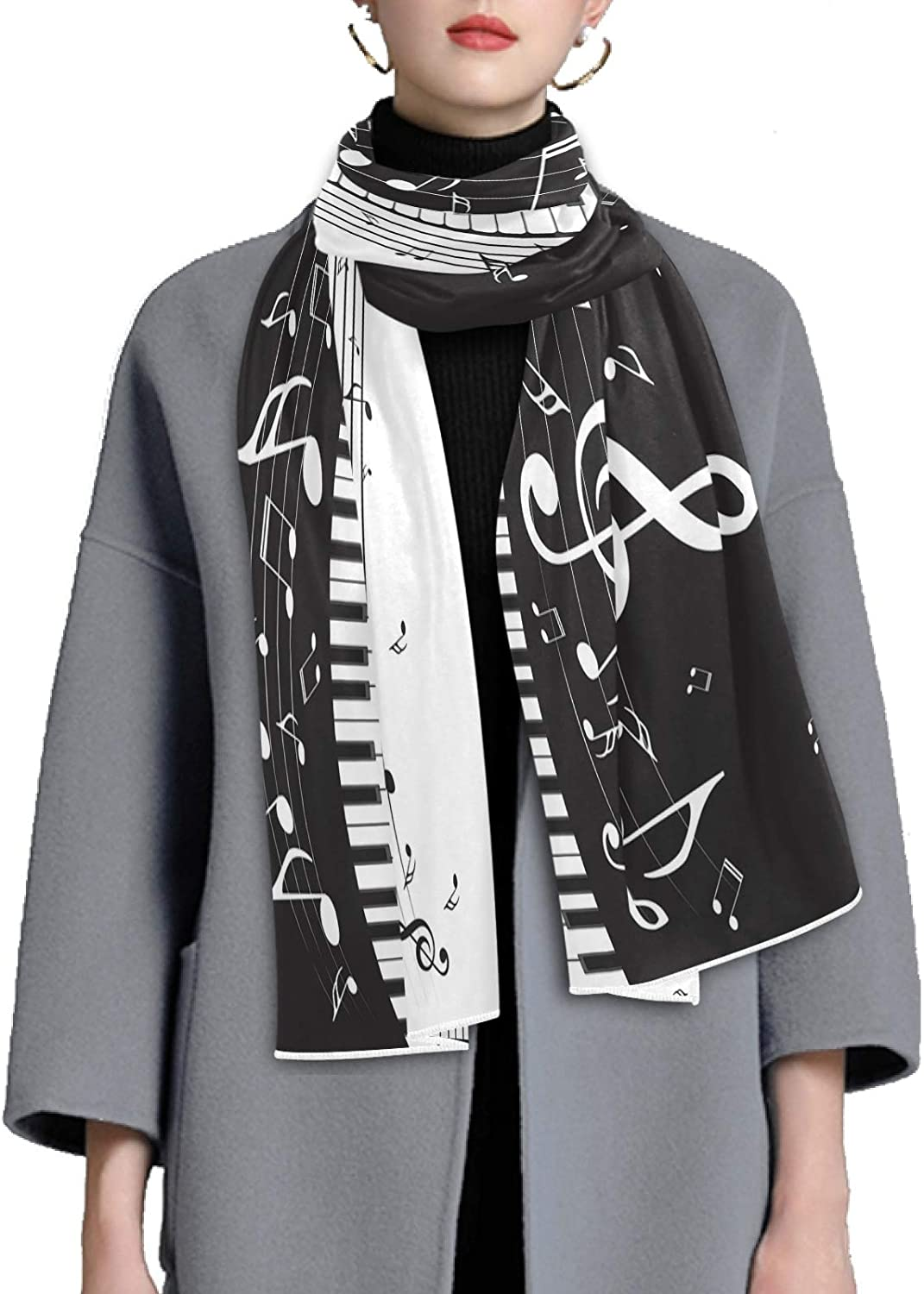 Scarf for Women and Men Piano Keys Musical Notes Blanket Shawl Scarves Wraps Thick Soft Winter Oversized Scarf Lightweight