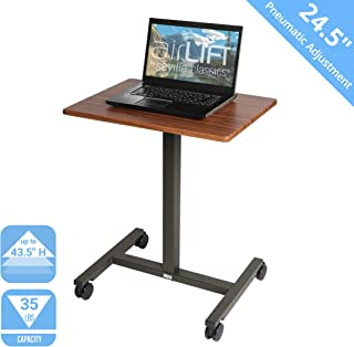 "Seville Classics AIRLIFT Pneumatic Laptop Computer Mobile Desk Cart Height-Adjustable from 29.3"" to 43.5"" H, 24"", Walnut"