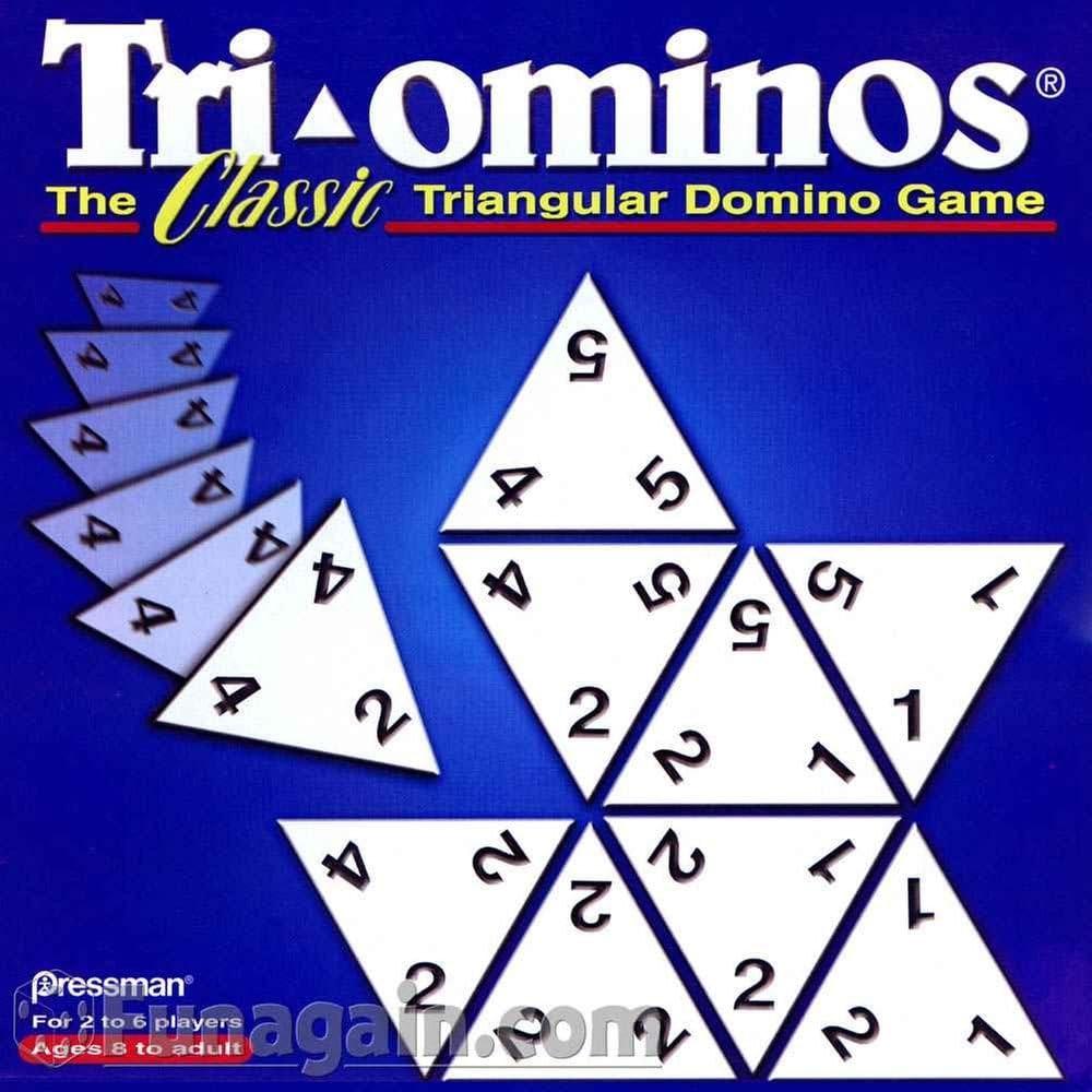 56 blue tiles  TRI-OMINOS  CLASSIC TRIANGULAR DOMINO GAME Complete set
