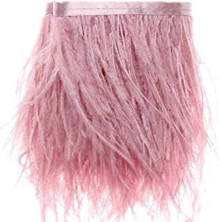 Ostrich Feathers Trims Fringe with Satin Ribbon Tape - for Dress Sewing Crafts Costumes Decoration Pack of 2 Yards(Leather Pink)