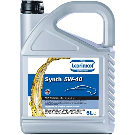 Leprinxol 5 Liter Synth 5w40 MotorÖl V W Norm 502 00 505 00 O P E L Gm Gm Ll B 025 Acea A3 B3 B4 Api Sm Cf Mb 229 3 B M W Ll 01 F I A T 9 55535 H2 9 55535 M2 5w 40 Auto
