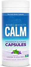 Natural Vitality Calm Capsules, Magnesium Glycinate Supplement with Lavender & Lemon Balm, Gluten Free, Non-GMO, 120 Count...