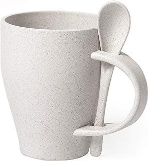 FUN FAN LINE - Lot de Mugs écologiques en Fibre Naturelle de Bambou avec Coquille Incluse. Vaisselle écologique réutilisab...