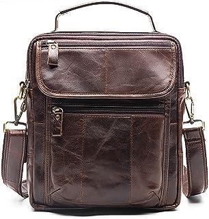 Men's Accessories Vintage Crazy Horse Leather Briefcase Shoulder Satchel Shoulder Handbag for Phone Tablet Power Bank Outdoor Recreation (Color : Coffee)
