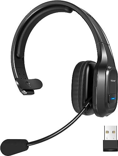 TECKNET Casque Bluetooth avec Micro, Réduction du Bruit Casque Audio pour PC Portable Ordinateur, Centre d'appels, Té...