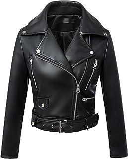 Uaneo Women's Slim Fit Zip Up Moto Short Faux Leather Jacket Outerwear