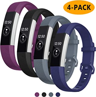 "Welltin Compatible with Fitbit Alta and Fitbit Alta HR Bands,Replacement Wristband Classic Accessories Bands for Fitbit Alta/Alta (Small 5.5""- 6.7"", Black/Blue Gray/Blue/Plum)"