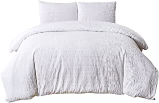PHF Yarn Dyed Seersucker Duvet Cover Set with Stripe 100% Cotton Bedding for Winter 3 Pieces King Size White
