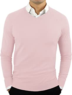 Comfortably Collared Men's Perfect Slim Fit Lightweight Soft Fitted V-Neck Pullover Sweater