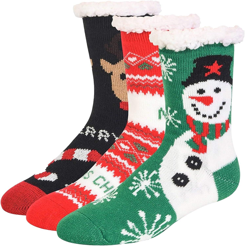 Red Green Black Non-Skid Thermal Christmas Holiday 3-Pack Slipper Socks