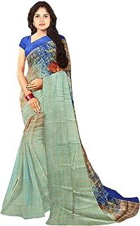 KLM Fashion Mall Women's Fancy Cotton Silk Saree (Green)