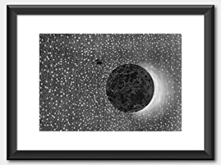 Music Poster Jules Verne - from The Earth to The Moon 1865 Print White Black Frame 60x80cm
