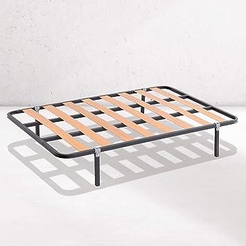 Dreaming Kamahaus SOMIER de lámina Ancha Estructura de 30x30 | Láminas de Chopo | con Patas cuadradas 27 cm | Fabricado en España |80 x 180 cms.|