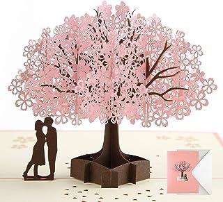 Pop Up Card Birthday Card Anniversary Card for Wife Girlfriend Cherry Blossom 3D Card Greeting Card Wedding Card Valentin...