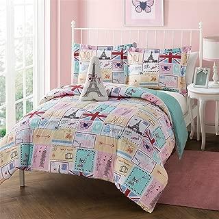 Paris Theme Bedding Twin Size 3 Piece Comforter, Shams, Eiffel Tower Embroidered Fleece Plush Pillow Set, Pink, Blue, Reversible, Polyester, French Design, Postcards Butterflies Hearts France Flag