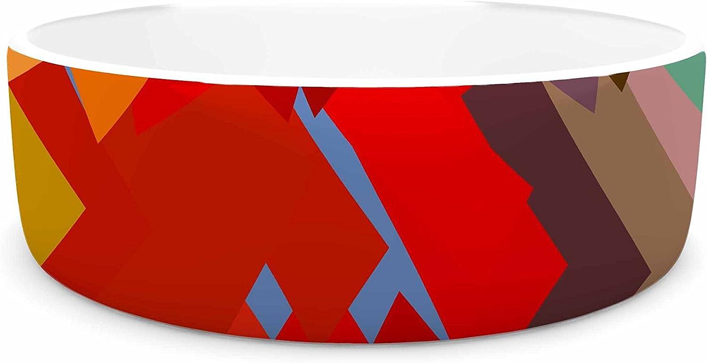 KESS InHouse Matthias Hennig Playful Rectangles  Red orange Pet Bowl, 7