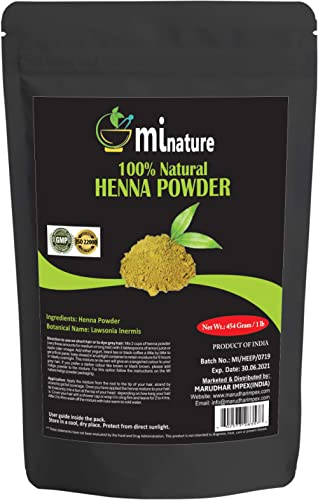 mi nature Henna Powder (LAWSONIA INERMIS)/ 100% Pure, Natural Henna from Rajasthan, India (454g / (1 lb) / 16 ounces)...