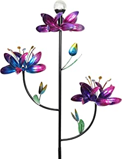 Exhart Triple Lotus Flower Wind Spinners Garden Stake w/Solar Crackle Ball - Metallic Flower Spinners in Colorful Metal Design Spin w/Light Up Glass Ball - Yard Art Décor 23
