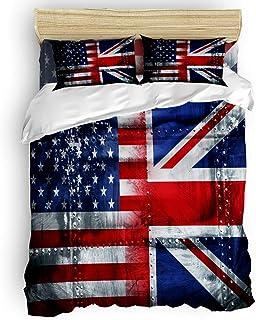 LnimioAOX Juego de Funda nórdica de 3 Piezas con Bandera Estadounidense y británica con 2 Fundas de Almohada Decorativas, Colcha Azul, Rojo y Blanco