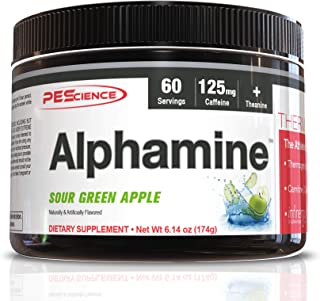 PEScience Alphamine, Sour Green Apple, 60 Scoops, Thermogenic Energy Powder with L-Carnitine