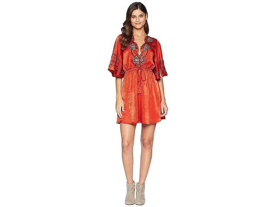 MOON RIVER Embroidery Wrap Dress (Geranium) Women