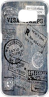 スマホケース ハードケース Galaxy S6 SC-05G 用 [デニム風・黒白スタンプ] トラベル Visa パスポート ビンテージ SAMSUNG サムスン ギャラクシー エスシックス docomo スマホカバー 携帯ケース 携帯カバー ...