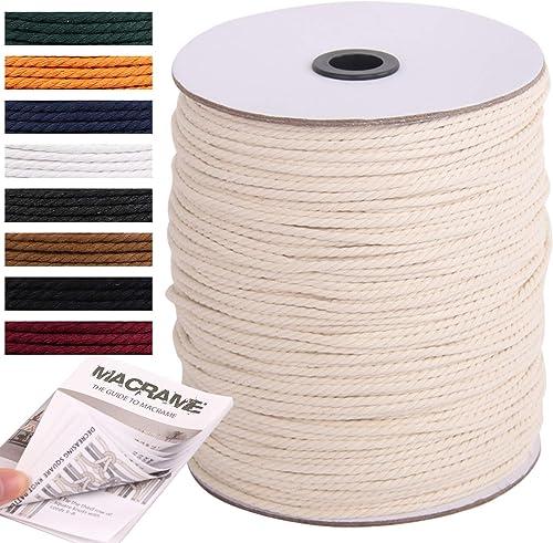 NOANTA Macrame Cord 3mm x 328Yards, Natural Cotton Macrame Rope Cotton Cord, Perfect Macrame Supplies for Wall Hangin...