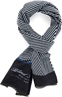 Lusm Men's Striped Wool Scarf Fashion Winter Super Warm Long Lightweight Scarves with Fringes