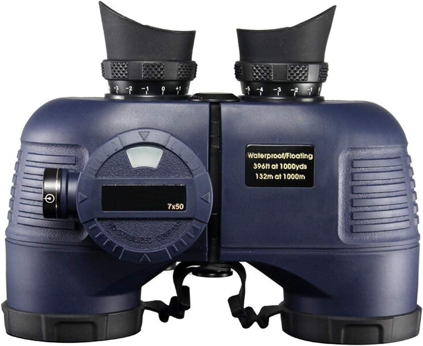 huasa Militares Prismáticos Compactos 7x50,HD Binoculares Visión Nocturna con Brújula Y Telémetro Prismáticos De Profesional,Binoculares para Observación de Aves,Caza,Senderismo,Astronomía,Blue